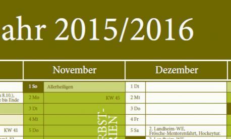 Kalender für das Schuljahr 2015/2016